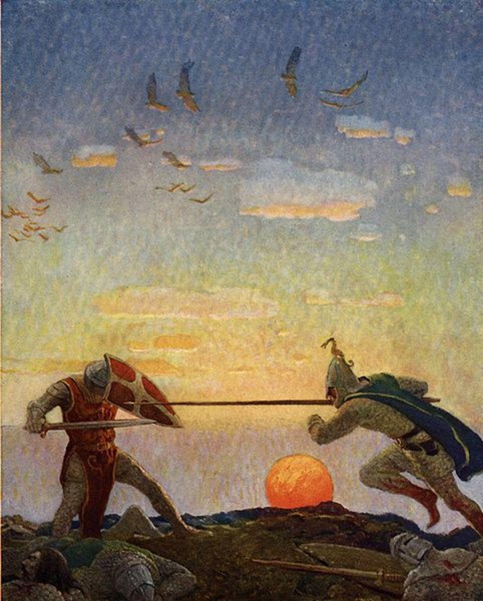 King Arthur in combat.