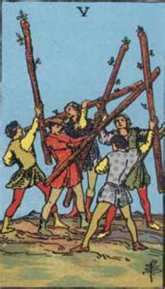 The Five of Wands shows a competition is involved, a set of challenges. The only way to over come these non-lethal blows, is to keep a level head and remain balanced.