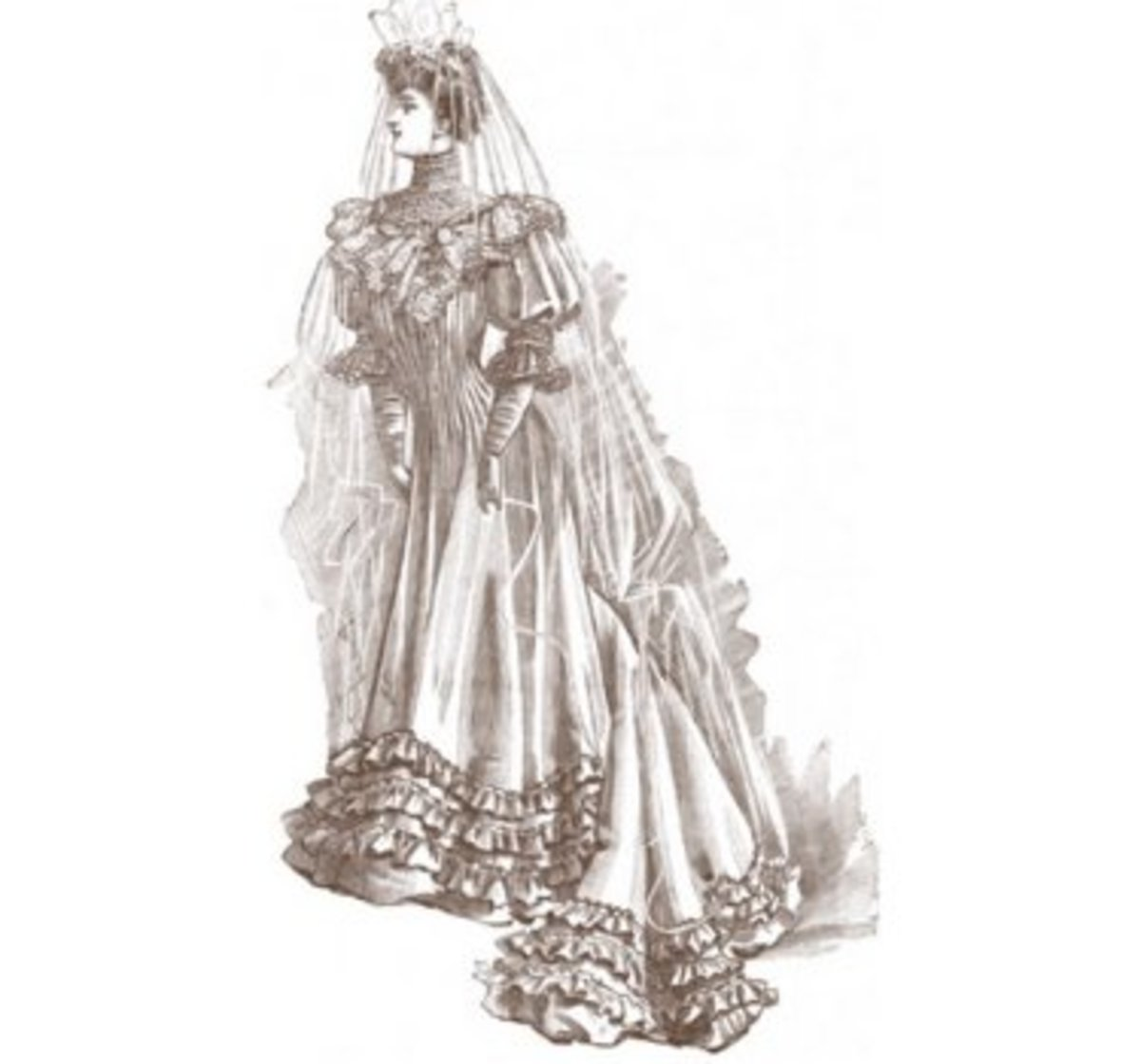 A bride in white may represent innocence and purity yet may also represent false appearances.