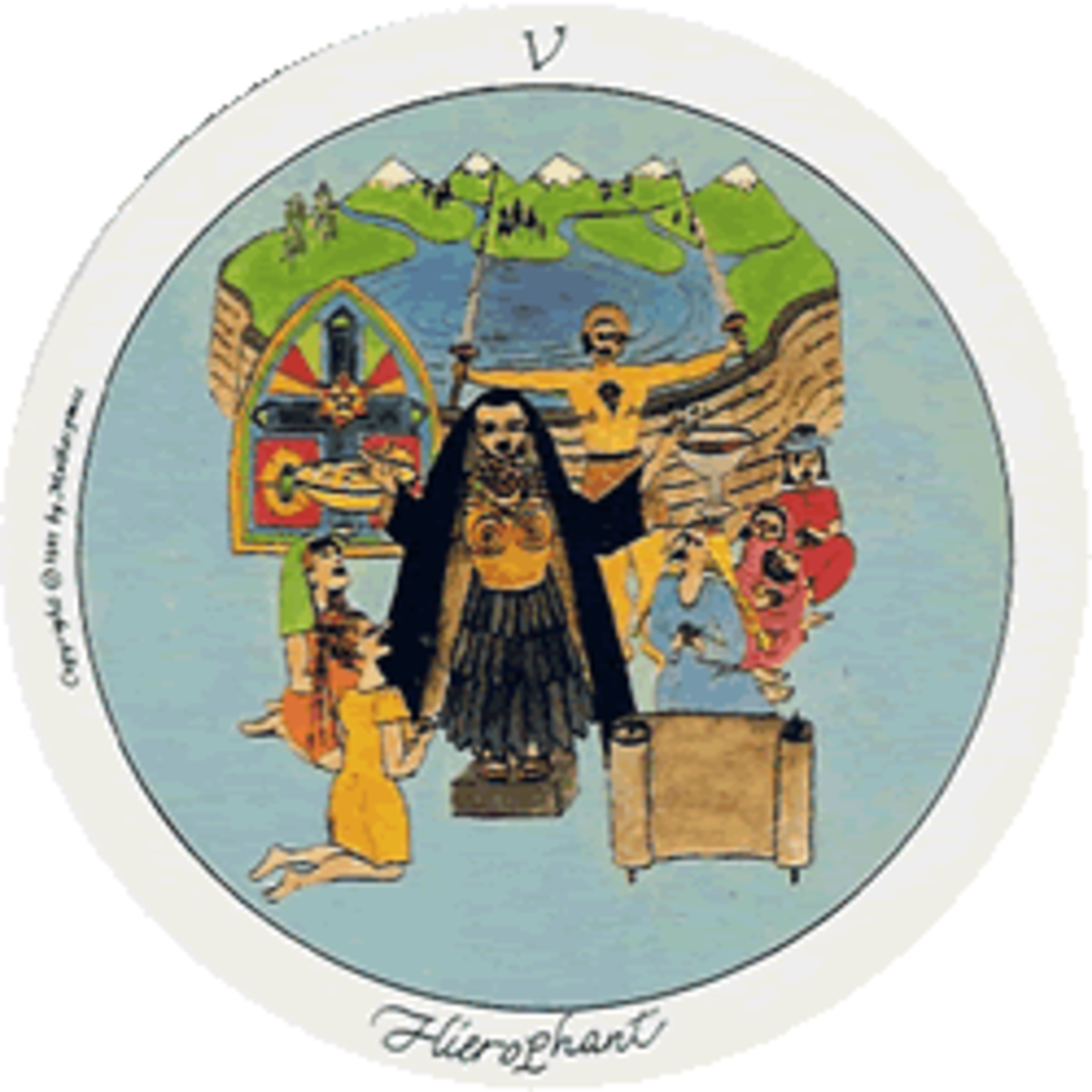 The Hierophant in the Motherpeace Tarot