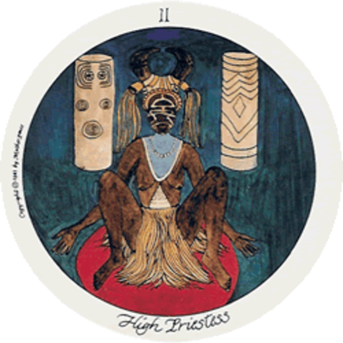 The High Priestess of the Motherpeace Tarot stands between the Earth and Spirit worlds.
