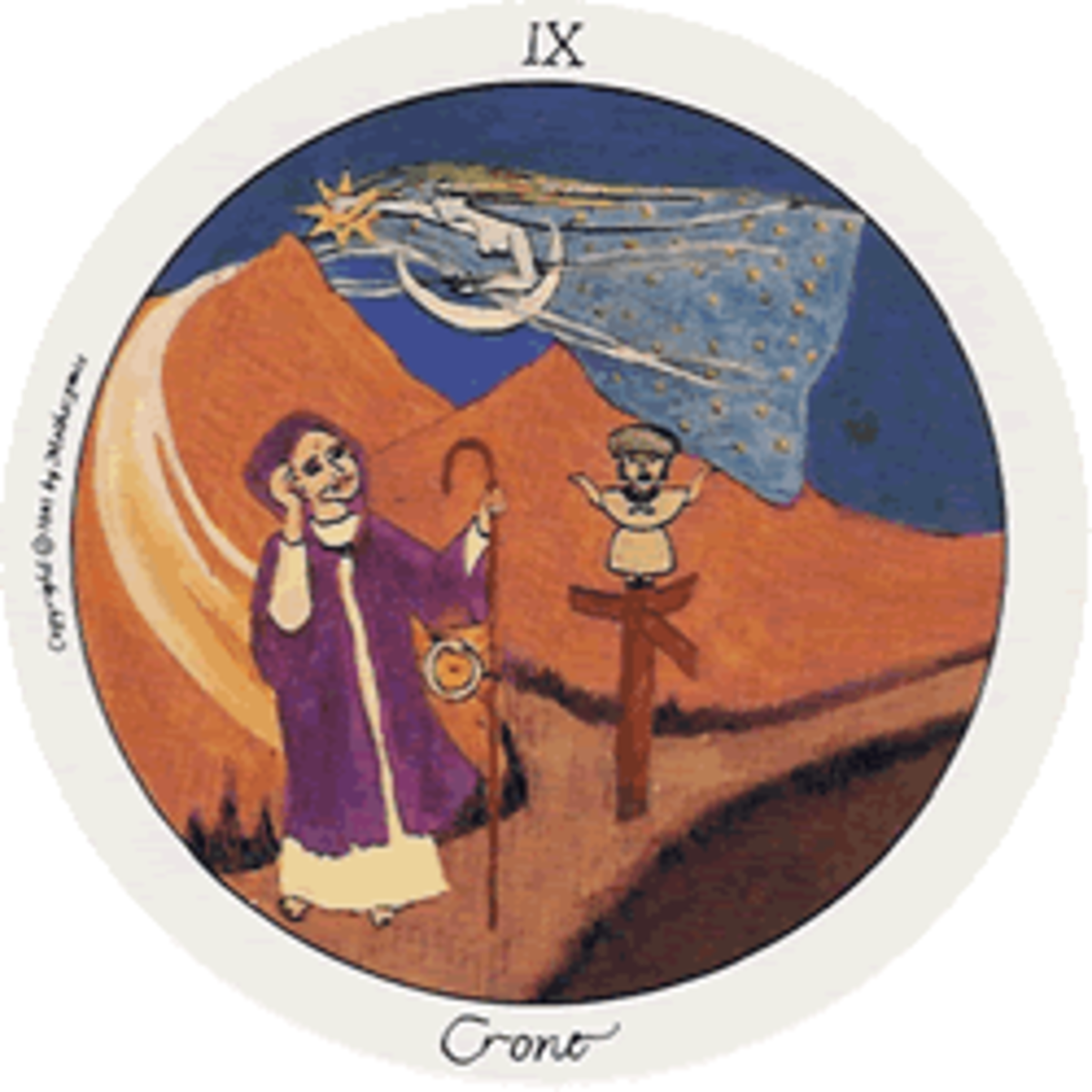 The Crone is normally called The Hermit in the majority of Tarot Card decks. The Crone is at a major crossroads in your life to help you find your way.