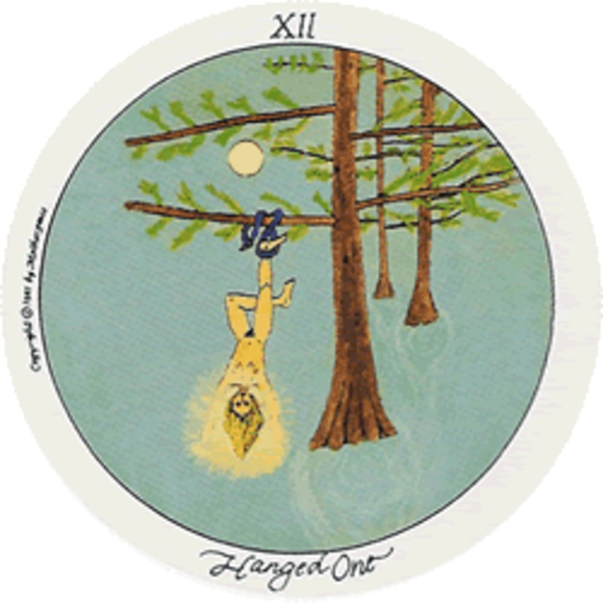 The Hanged One (usually called The Hanged Man in other Tarot decks) is looking at life from another perspective, to grow spiritually