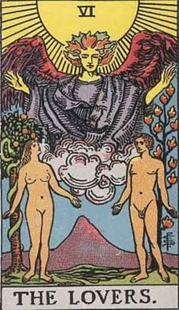 A card meaning love and spiritual balance from the Rider-Waite Deck (1907).