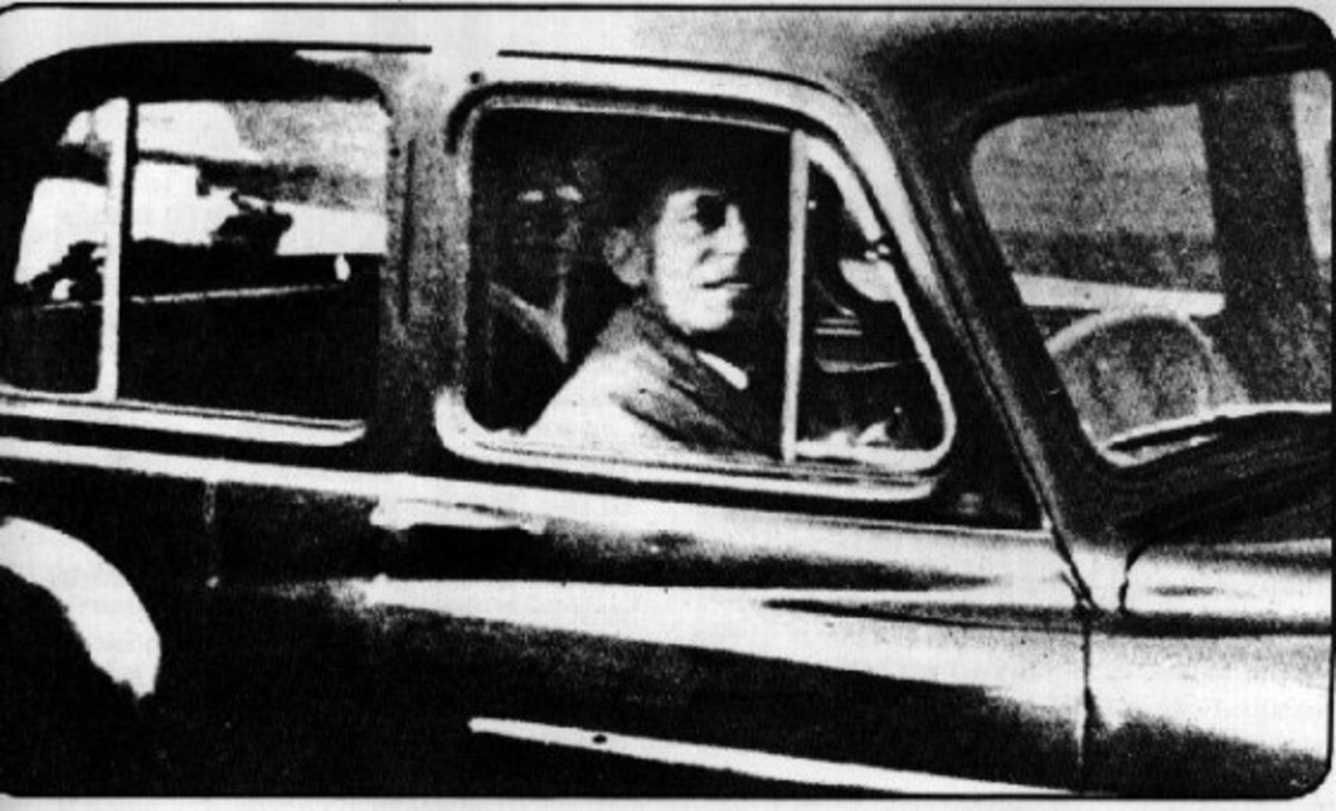 """The Chinnery Photo"" allegedly shows a ghost sitting behind the driver. 1959."
