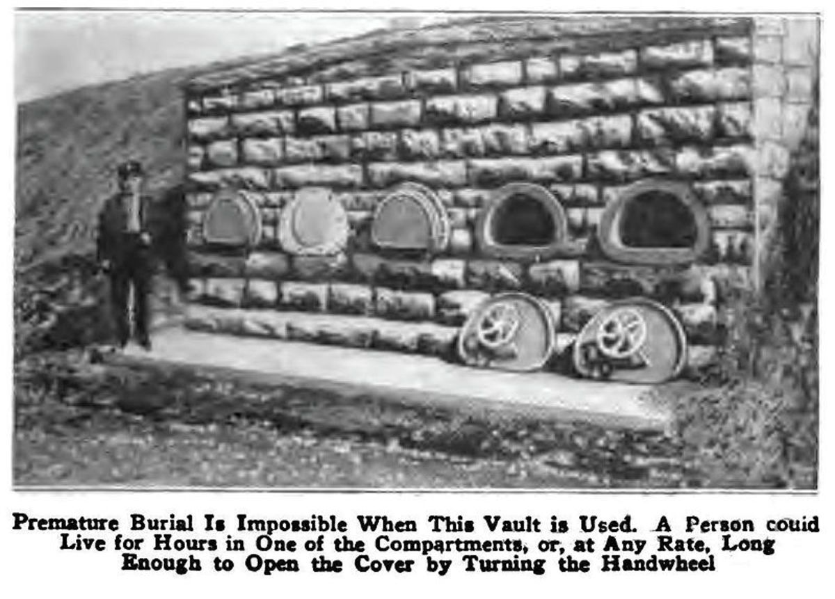 Photo of a vault meant to protect people from accidentally being buried alive, built c. 1890.