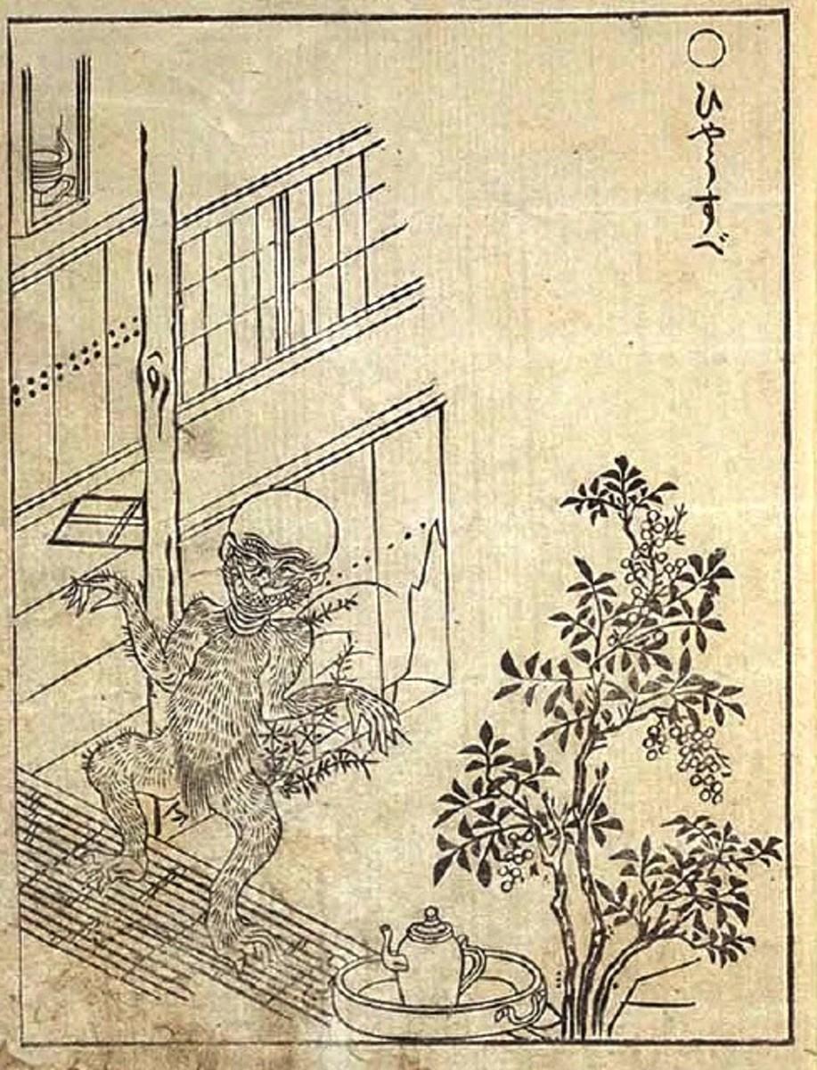 Ukiyo-e print by Sekien of the hyosube Seukera  peeking in a window .
