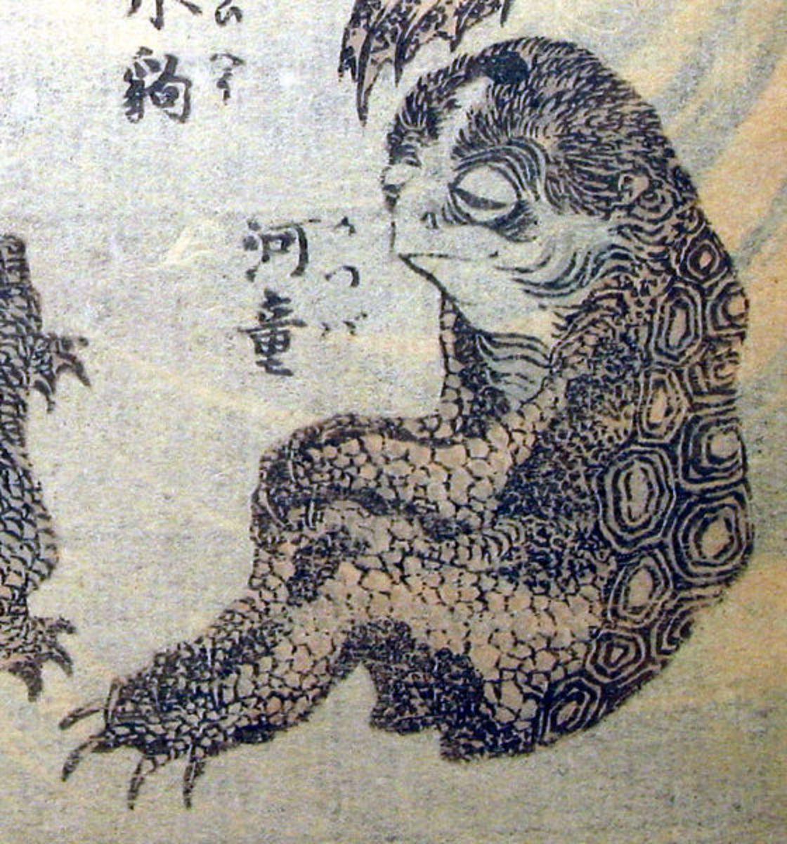 Depiction of a kappa by ukiyo-e master Katsushika Hokusai (1760-1849).