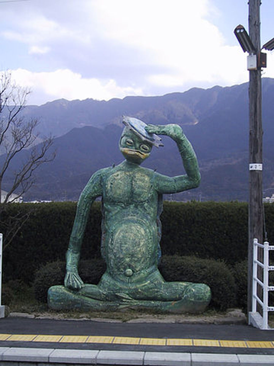 A kappa statue on the Tanushimaru railway station platform in Fukuoka, Japan.