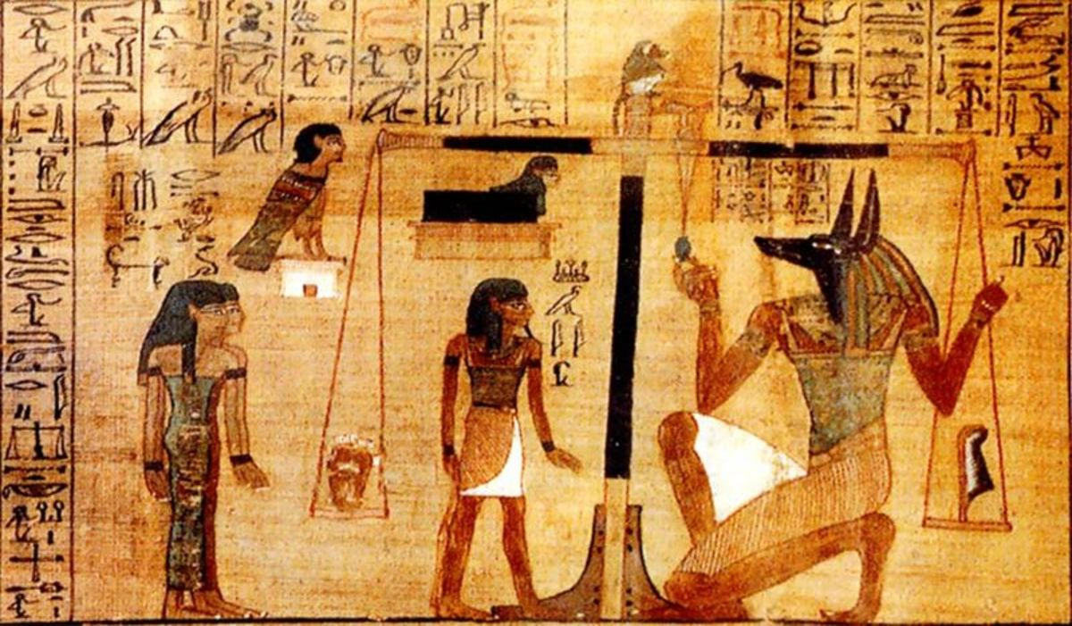 Anubis performing the weighing of the heart against the feather of Maat.