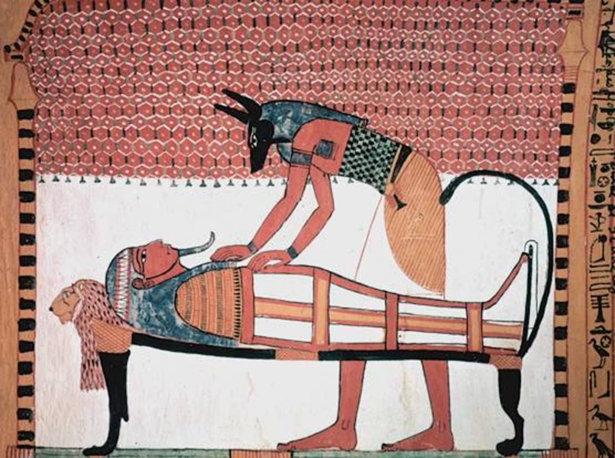 Anubis performing the ritual of embalming.