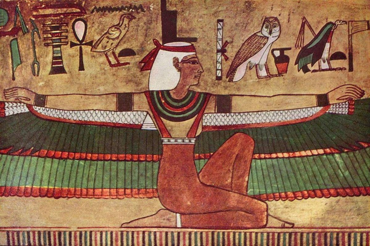Isis depicted with outstretched wings. Wall painting in the tomb of Seti.