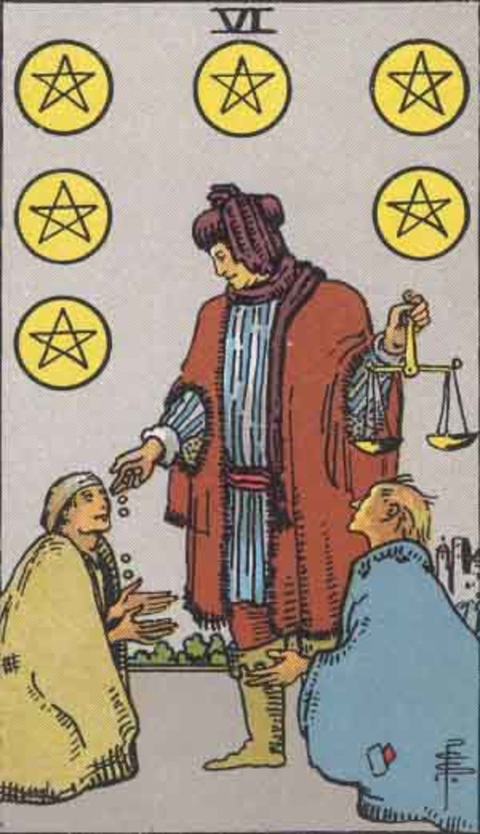 Six of Pentacles. Copyright-free Rider Waite, Pamela A version.