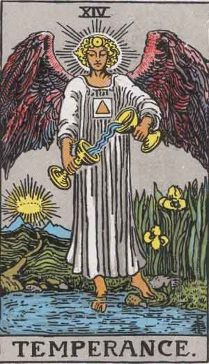 Temperance, copyright-free from the Rider-Waite deck Pamela A version