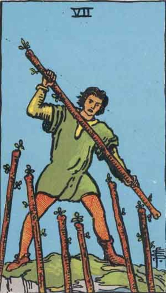 Seven of Wands - copyright-free Rider-Waite deck, Pamela A version.