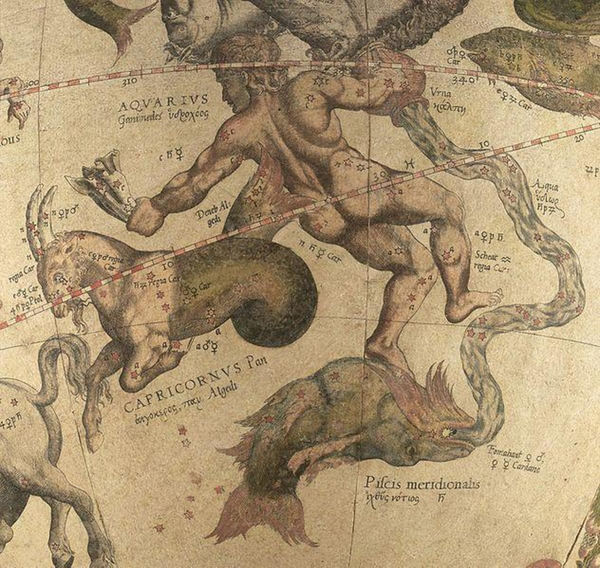 Ancient Drawing of Aquarius Constellation Over Capricornus