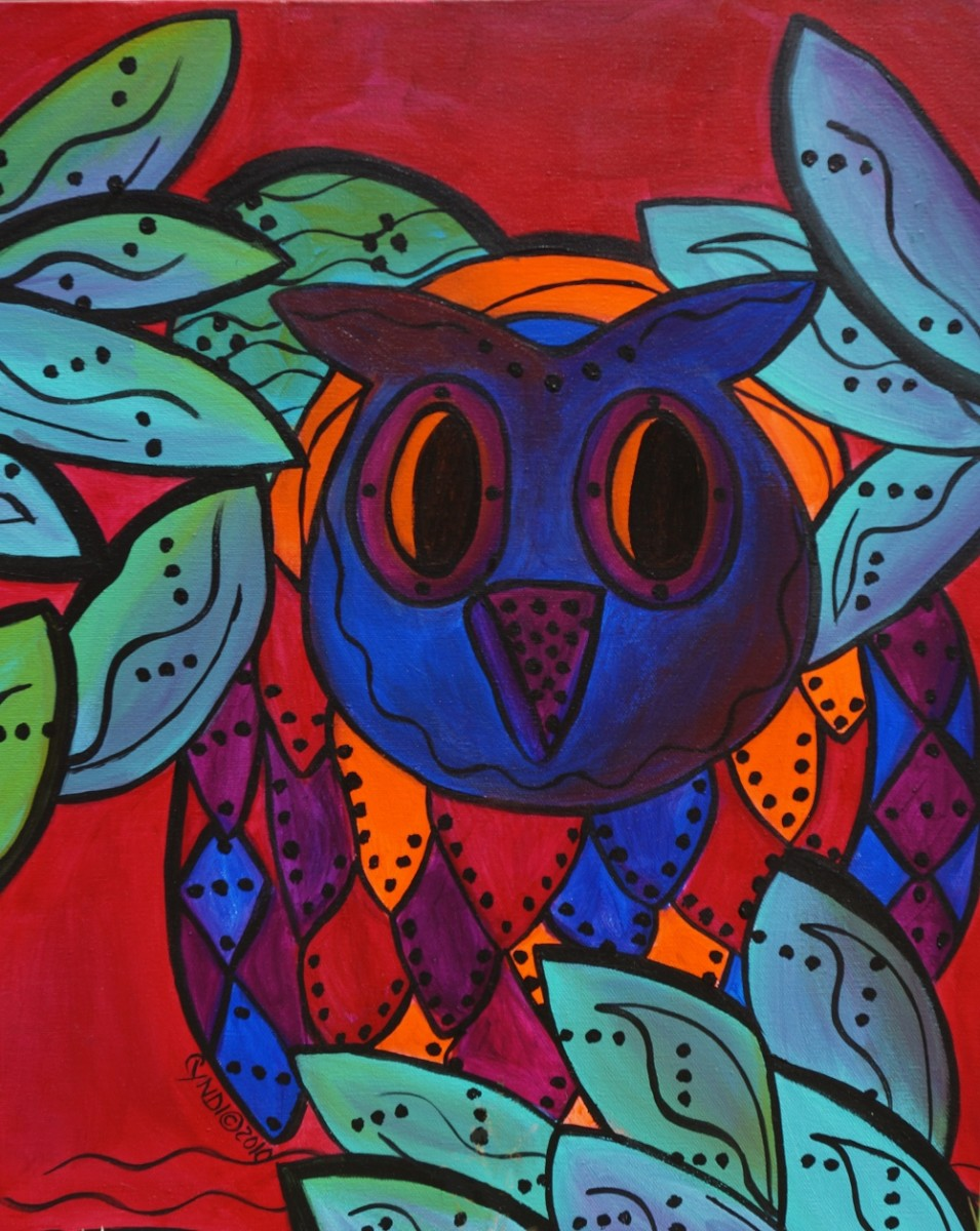 "I really like owls, so I painted this owl a couple of years ago. It's acrylic on canvas, 20"" x 16""."