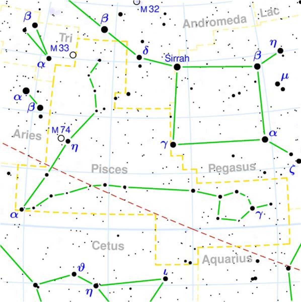 Map of Pisces Constellation