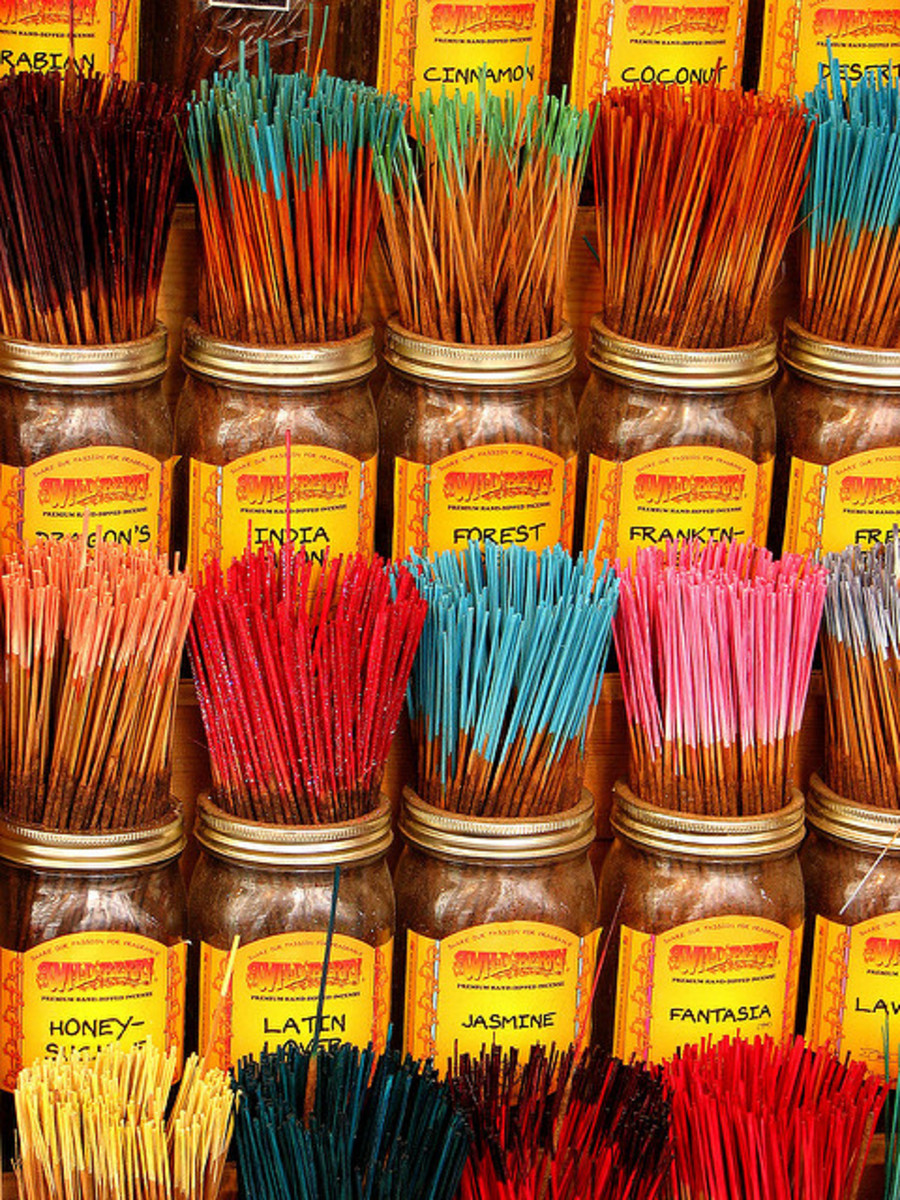 Incense sticks are avaliable in a wide range of scents.