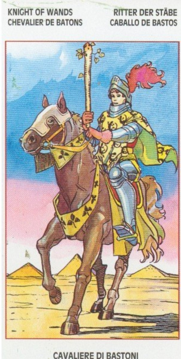 The Knight of Wands from the Lo Scarabeo Waite-De Angelis tarot.