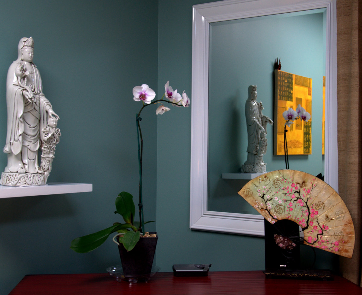This shows a wonderful example of using a mirror and feng shui energy