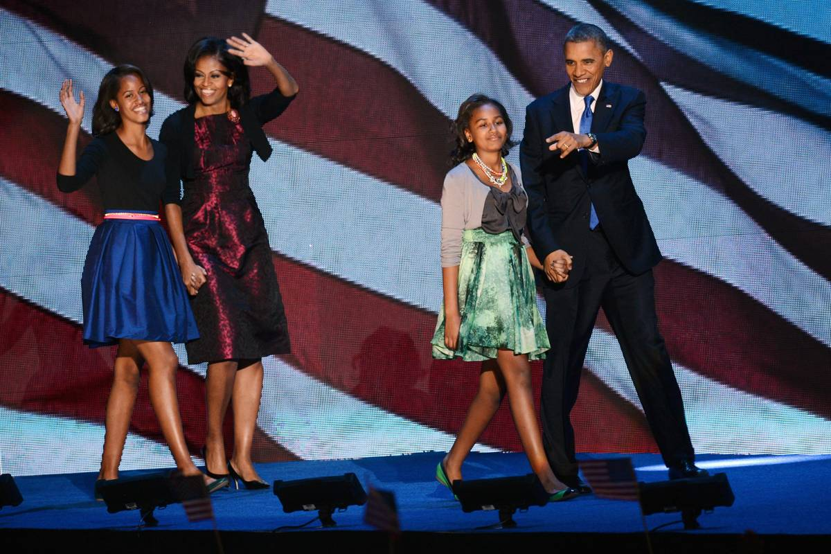 Obama and his family on Election Night, 2012.
