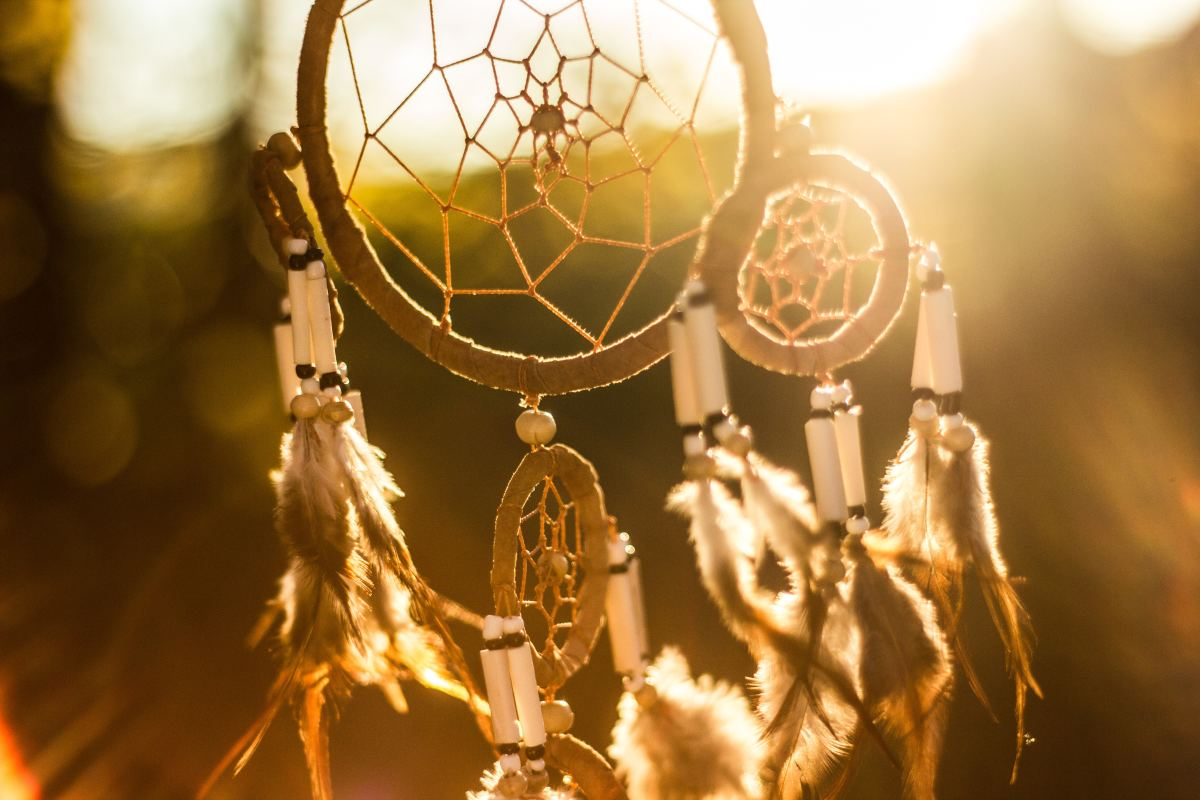 A spiderweb is the ultimate dreamcatcher, which originated from the Ojibwa Chippewa tribe. The Ojibwe word for dreamcatcher, asabikeshiinh, means spider.