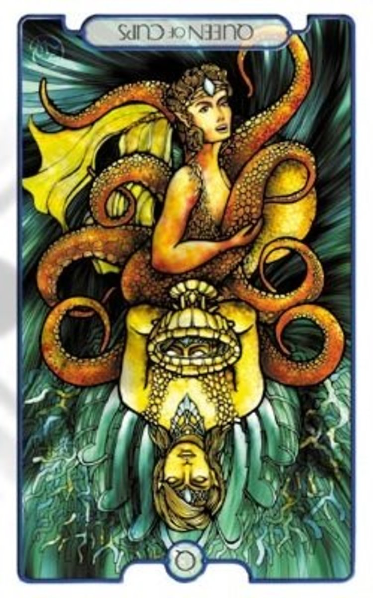 The reversed Queen of Cups from the Revelations Tarot