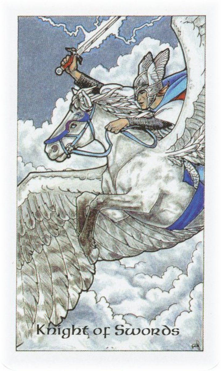 Knight of Swords from the Robin Wood tarot deck.