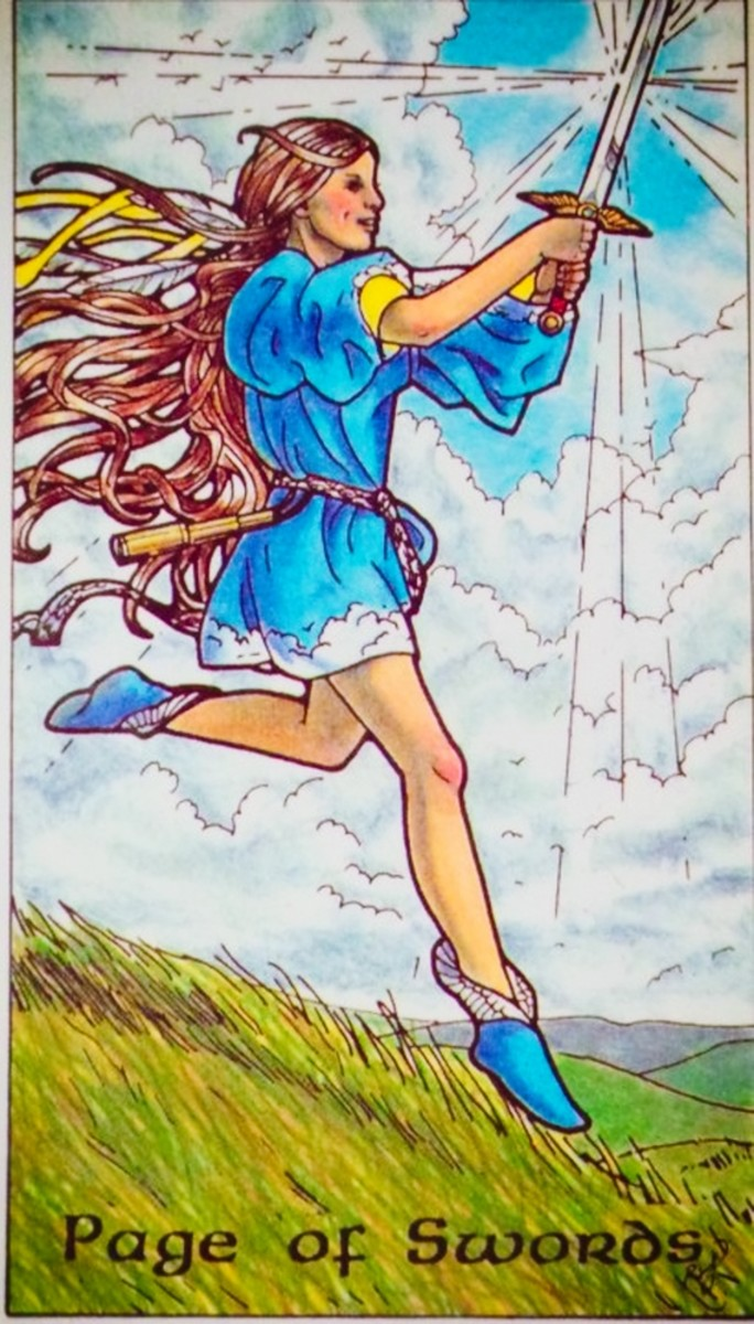 The Page of Swords from the Robin Wood Tarot