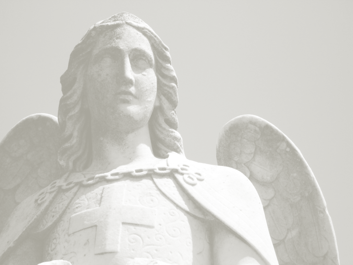 """Saint Michael the Archangel,"" the whistling came from low in the cemetery, ""defend us in battle."""