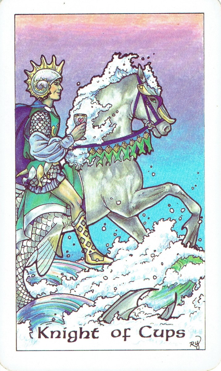 The Knight of Cups from the Robin Wood tarot deck