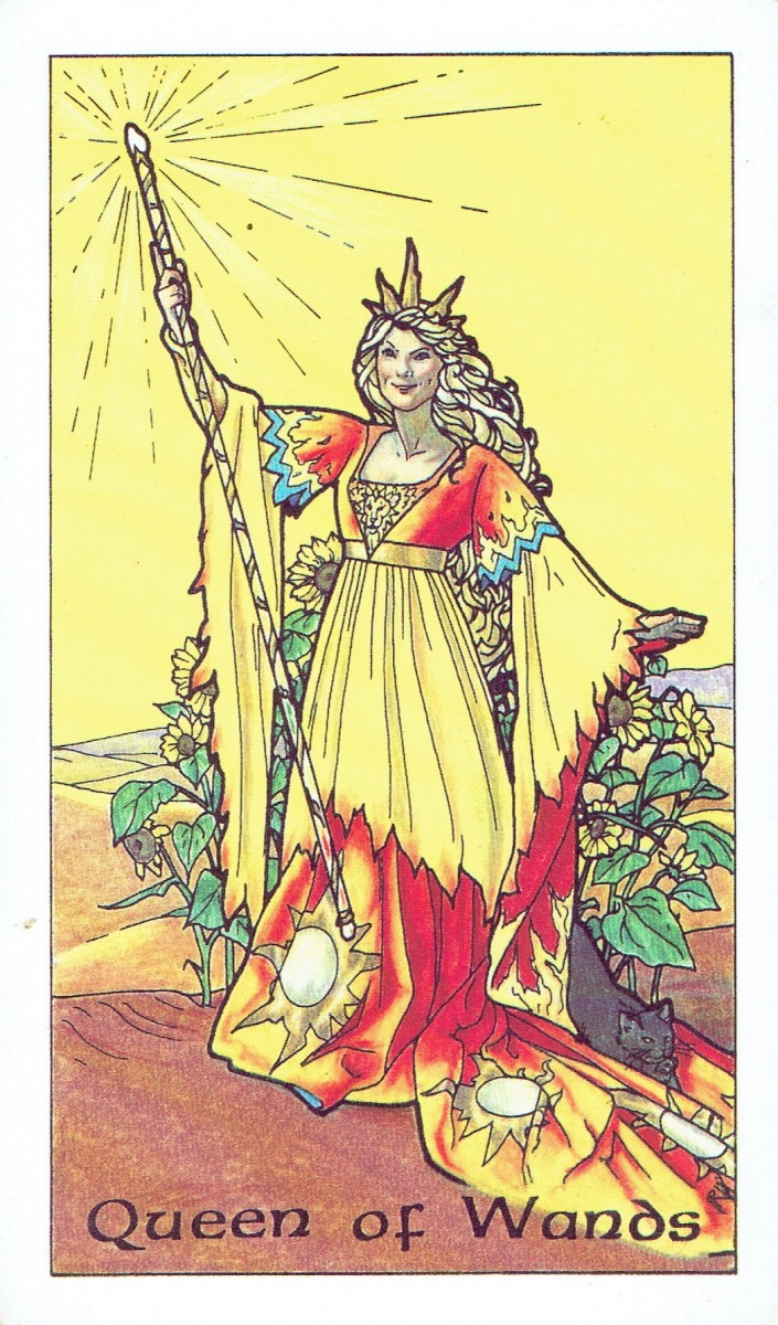 The Queen of Wands from the Robin Wood Tarot (scanned image)