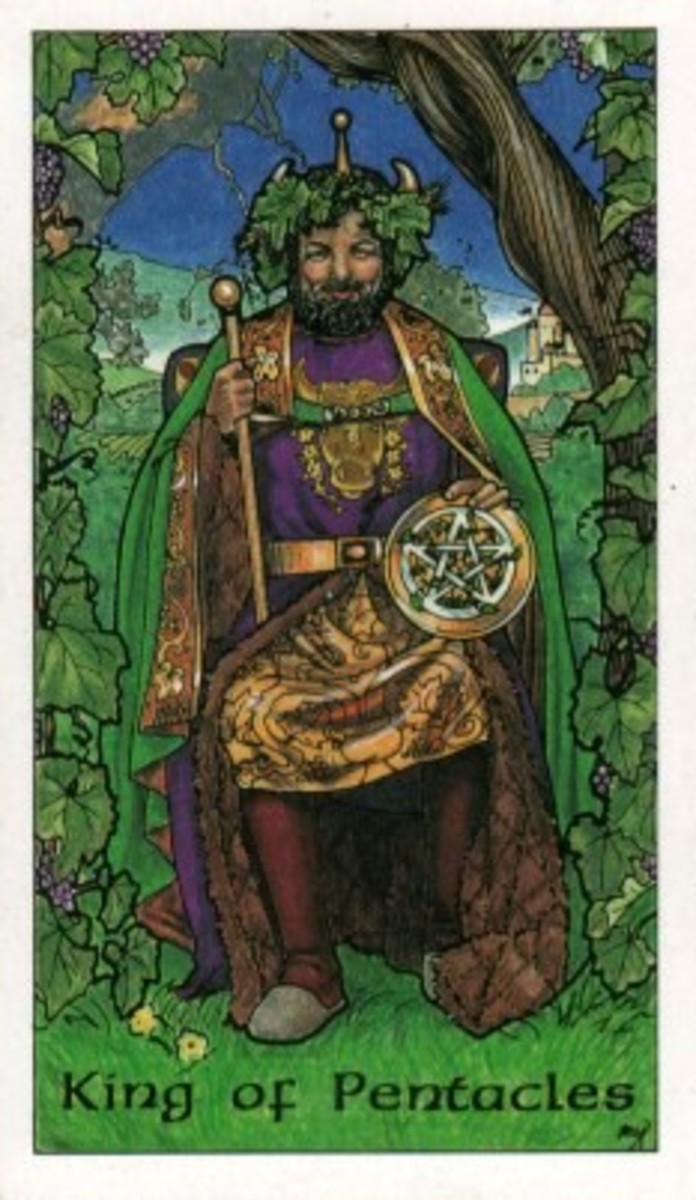 Robin Wood Tarot: King of Pentacles (Scanned)