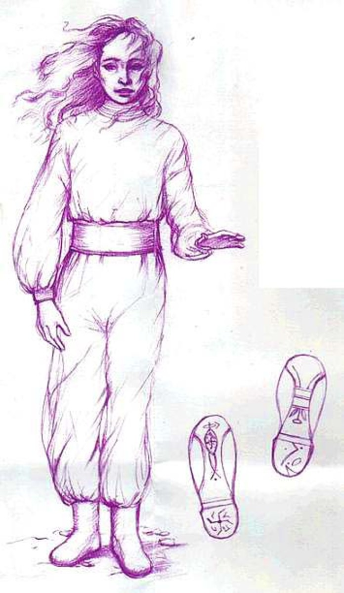 A drawing of Orthon with footprints