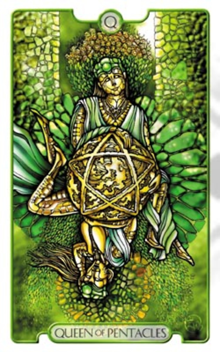 Queen of Pentacles from The Revelations Tarot.
