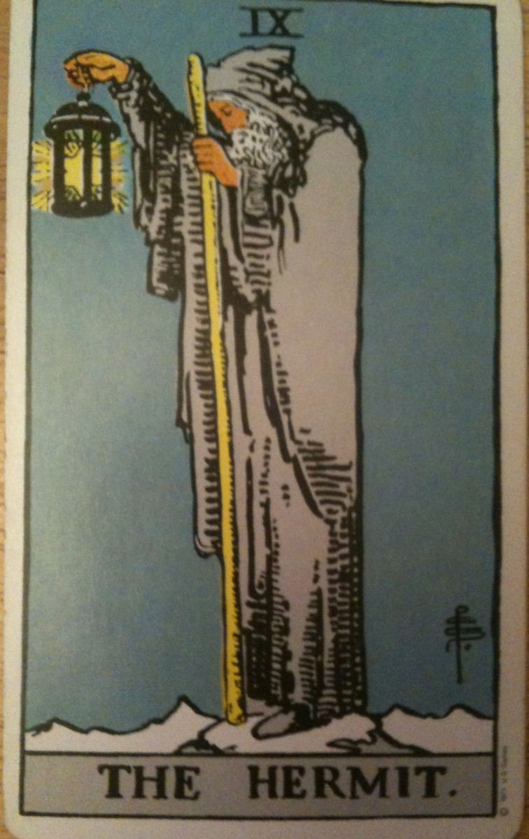 The Hermit. From the Rider Waite deck.
