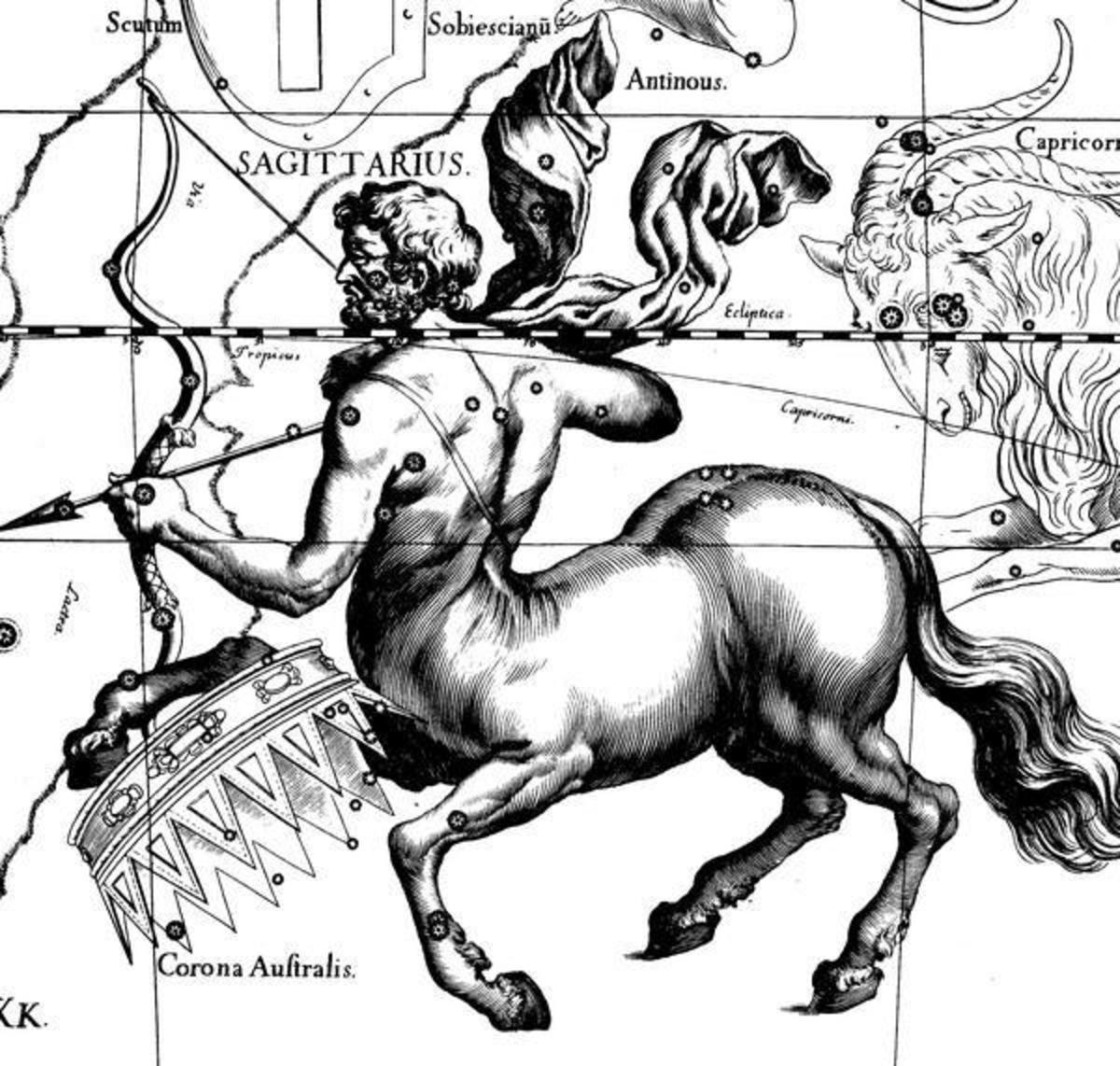 This is Sagittarius the constellation.  He is an ancient archer who is half man and half horse.
