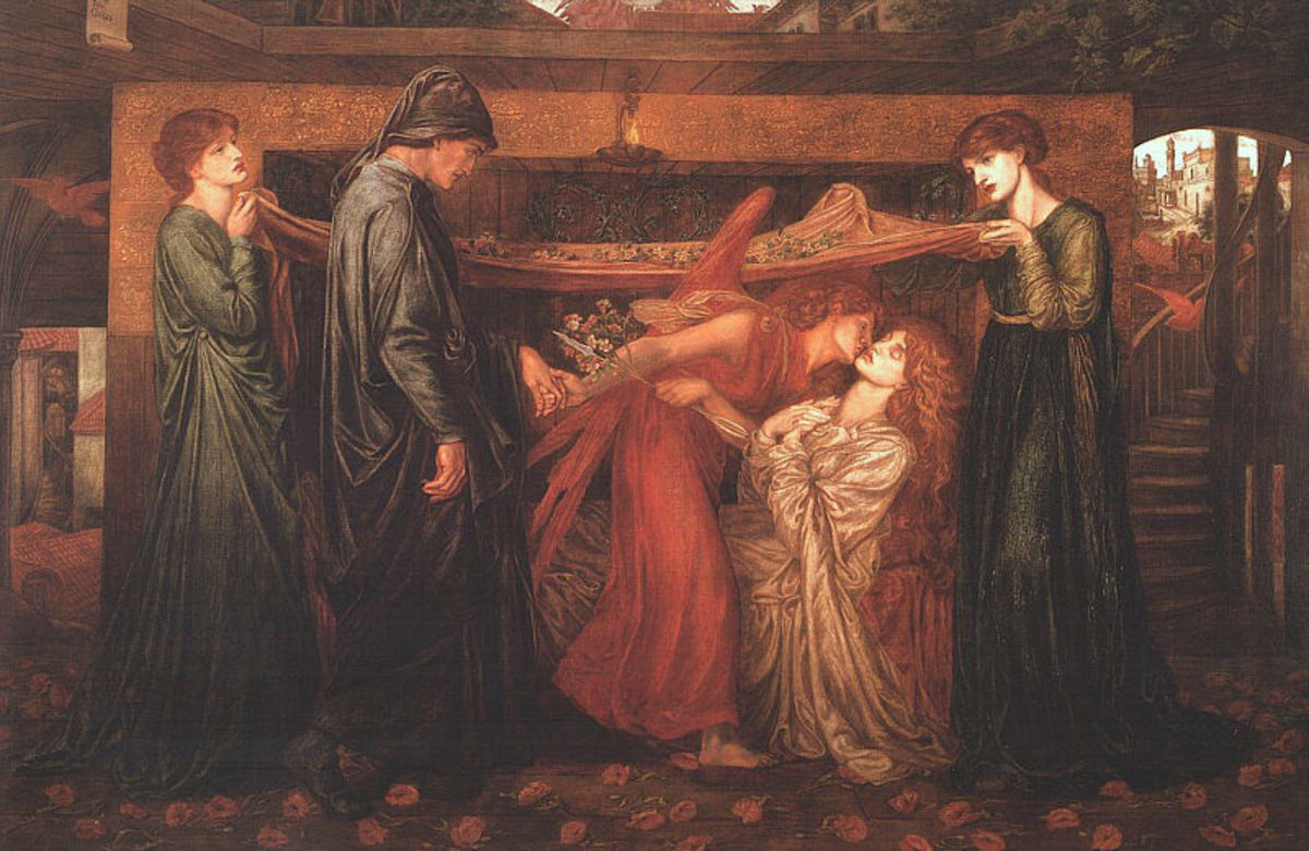 "Dante Rossetti drew inspiration for ""Dante's Dream"" from a poem by Dante Alighieri. In the beautiful painting, the color red represents the love Alighieri felt for a woman who did not return the feeling."