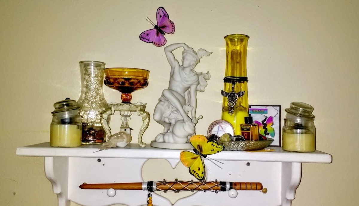 Hermes shrine that sits above my writing desk.