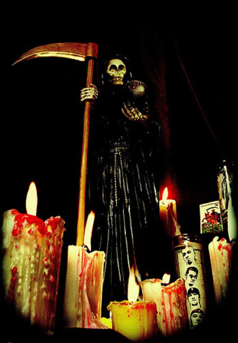Shrine to Santisima Muerte of Mexico, a Pagan death Goddess/Catholic Saint synchretic deity.