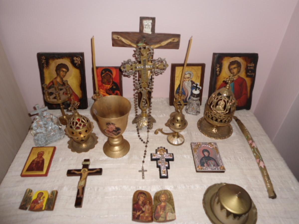 Eastern Orthodox Christian home shrine.