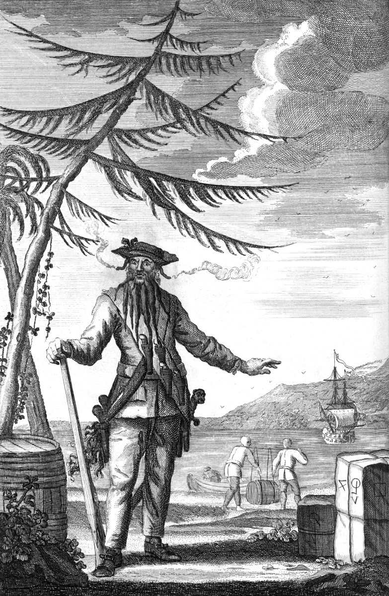 Blackbeard the Pirate, aka Edward Teach, operated primarily in the Caribbean. He was not violent, but succeeded by virtue of his fearsome appearance. This engraving was created in 1726.