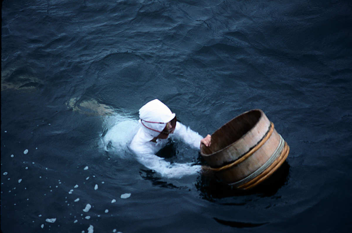 Ama pearl divers operate off the coast of Japan. As with the Korean Haenyo divers, they started wearing clothes at the insistence of critical tourists.