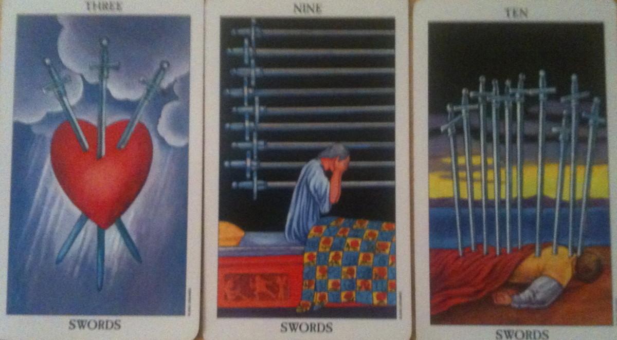 The Three, Nine and Ten of Swords