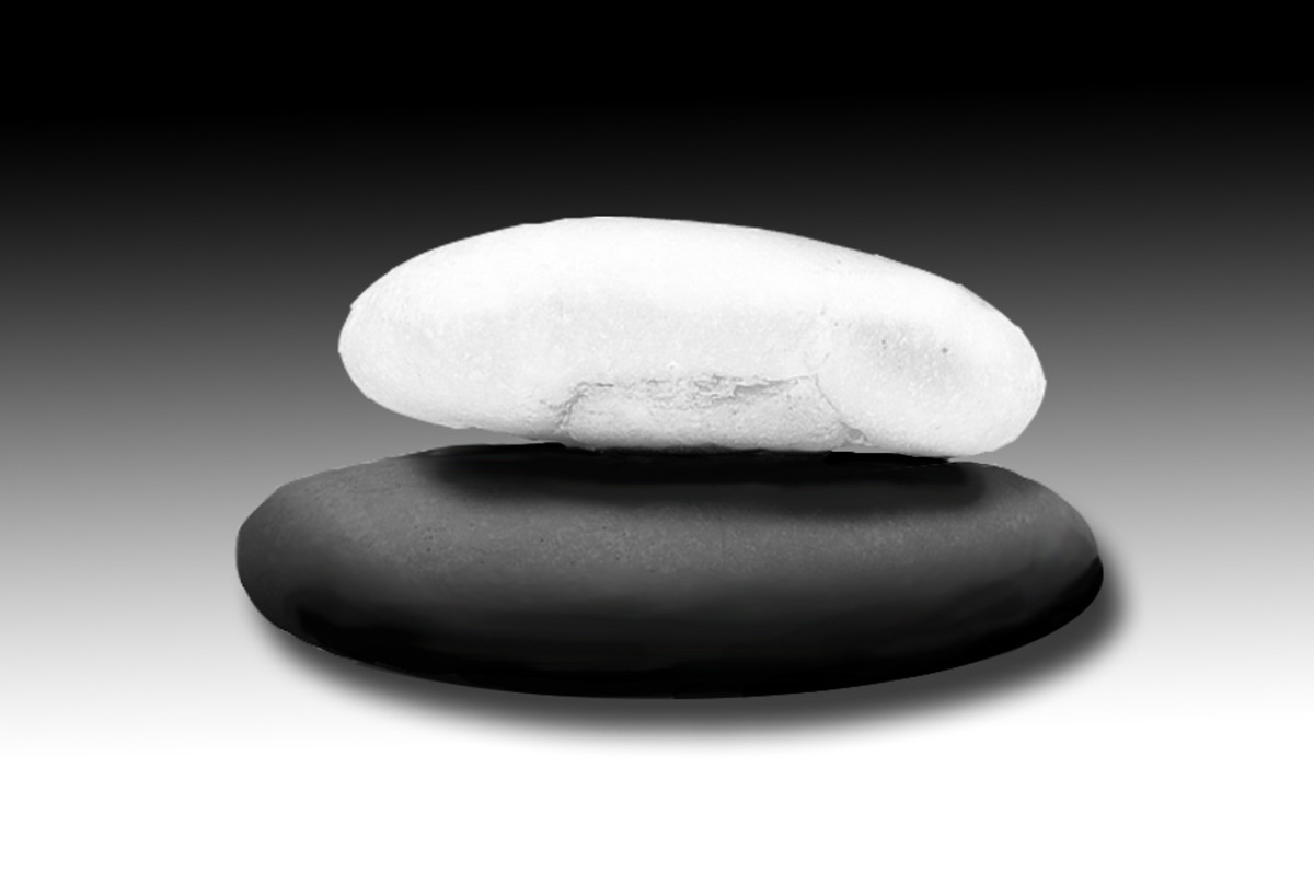 White and black stones.  You may paint them if you don't have any readily available.