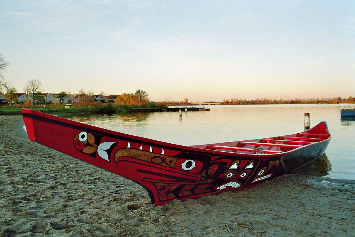 A Haida War Canoe holds many warriors. This canoe is from a Pacific Northwest coastal tribe.