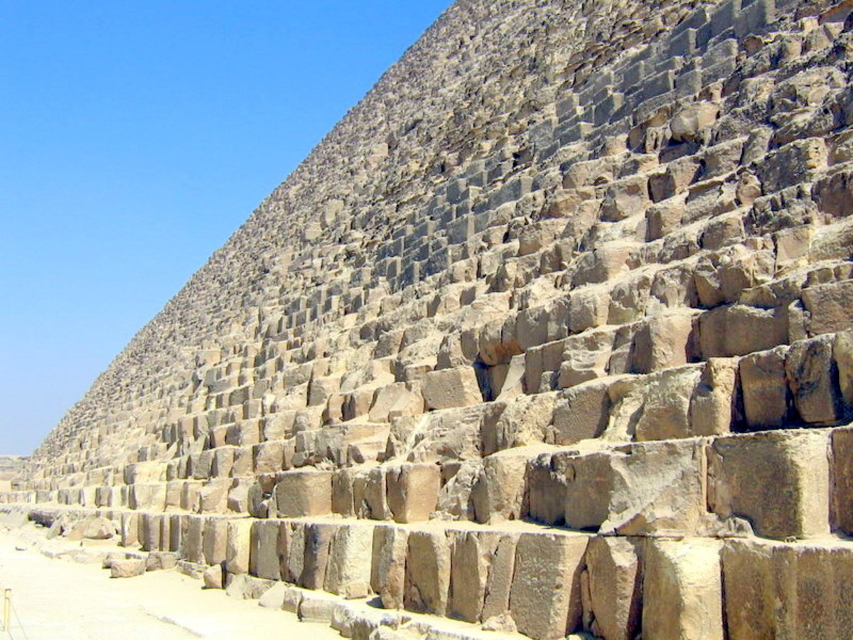 The Great Pyramid consists of over 2 million individually cut blocks.