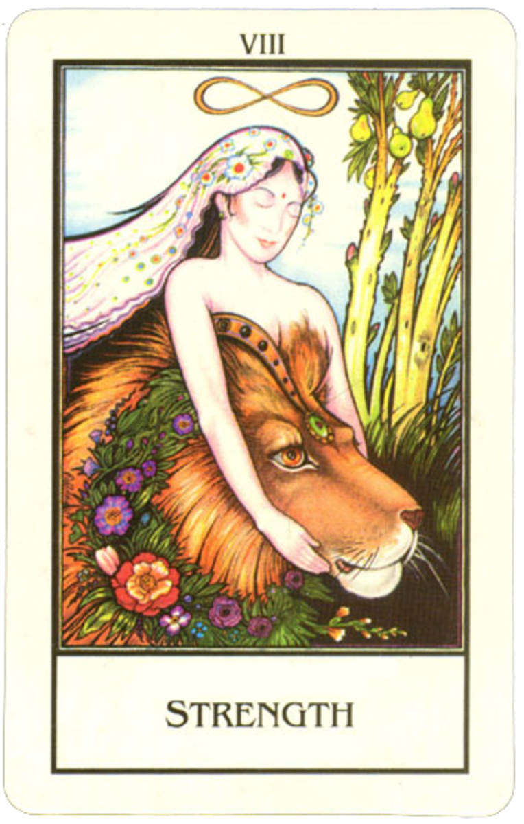 "A Tarot card for ""Strength"" containing Hindu culture influences."