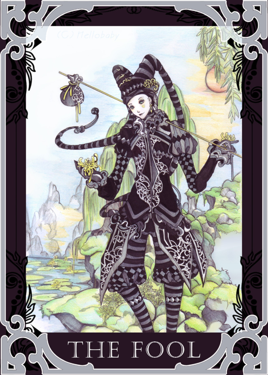 "A female ""Fool"" Tarot card."